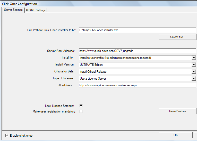 Controlling Upgrades > Deploying QDV7 with Click Once